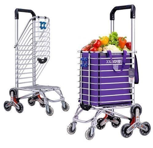 折りたたみ式 アルミ合金ショッピングカート ポータブルキャリーカート 荷物カート 大容量 スーパーマーケット ショッピングカート