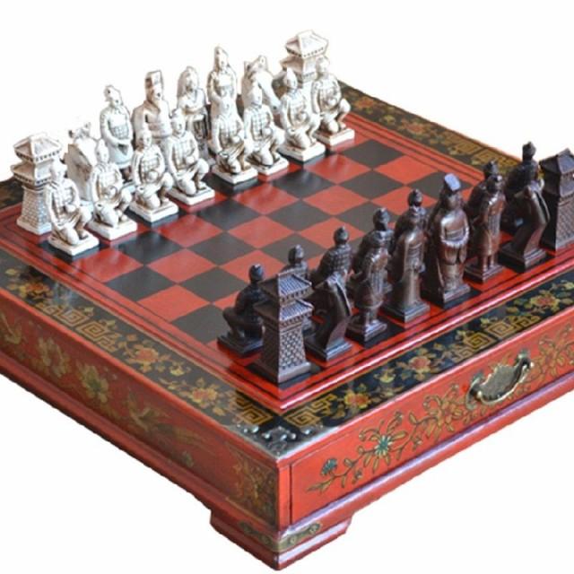 クラシック中国テラコッタ戦士木製チェス盤
