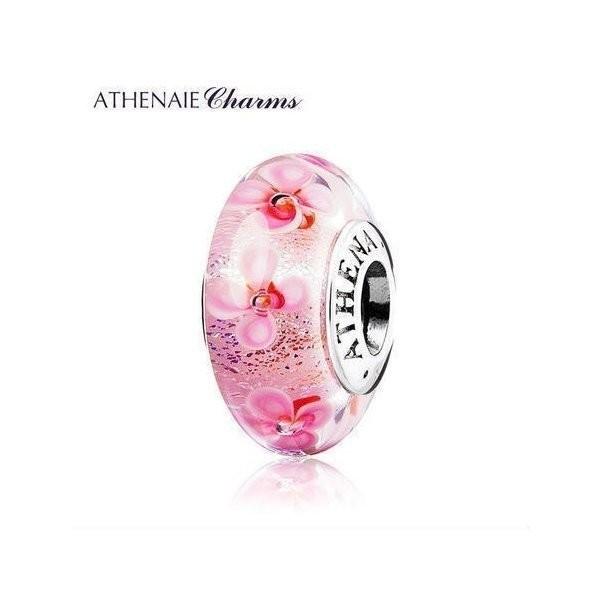 ATHENAIE パンドラ適合 ビーズチャーム シルバー925 ムラーノガラス Murano 925Silver Charm Bead Fit Pandora ピンク 野の花