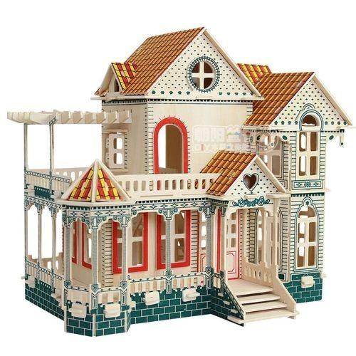 DIYキッズ木製パズルミニチュア ベビードールハウスウッドハウスヴィラキットプレイハウスおもちゃギフトハワイモデルビルディングパズル