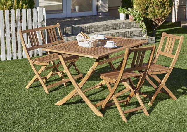 ガーデンテーブルセット ガーデンチェア 折りたたみ ベンチ 木製 アカシア ガーデンファニチャー 4点セット(テーブル+チェア2脚+ベンチ1