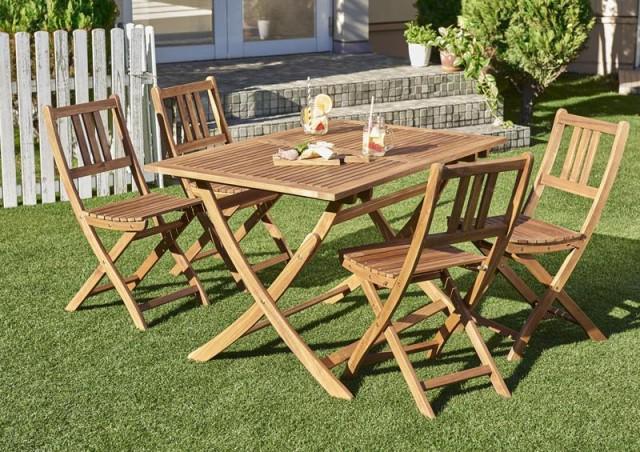 ガーデンテーブルセット ガーデンチェア 折りたたみ収納 5点 木製 アカシア 天然木 ガーデンファニチャー Efica 5点セット(テーブル+チ