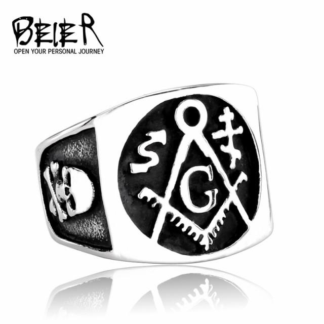 リング 指輪 メンズ ステンレス スカル ガイコツ 骸骨 エンブレム サージカルステンレス ワイド 文字 髑髏 個性的 ユニーク アクセサリー