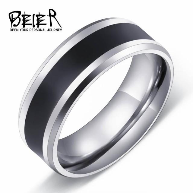 リング 指輪 メンズ ステンレス シンプル ライン サージカルステンレス ブラック 線 黒 プレゼント ユニセックス ペア ギフト V系 お兄系