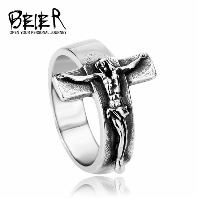 リング 指輪 メンズ ステンレス クロス 十字 サージカルステンレス 十字架 立体 人物 人間 立体 個性的 ユニセックス プレゼント ギフト