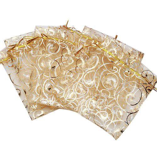 20枚入り オーガンジー巾着袋 唐草ゴールド アクセサリーバック ラッピング用品 アクセサリー プレゼント 素材 ギフト