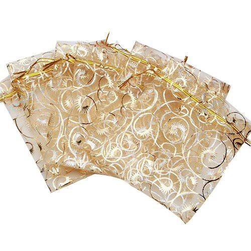 10枚入り オーガンジー巾着袋 唐草ゴールド アクセサリーバック ラッピング用品 アクセサリー プレゼント 素材 ギフト