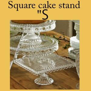 Square cake stand S/スクエア ケーキ スタンド Sサイズ/ケーキ皿/ガラス製/脚付き/コンポート/ショコラティエ/チョコレート/ハロウィン/