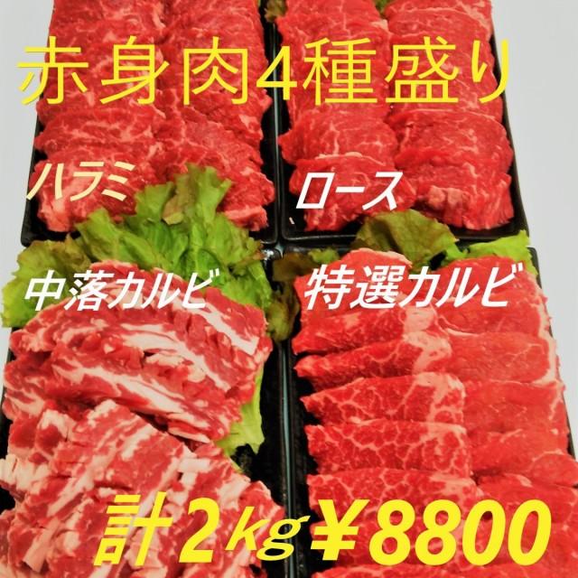 赤身焼肉4種盛りセット 2キロ 大容量 焼き肉 BBQセット 赤身 メガ盛り