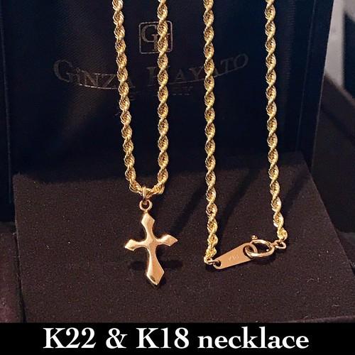 18金 22金 クロス ネックレス ロープ メンズ 50cm K18 K22 cross mens necklace ギンザ ハヤト ジュエリー ginza hayato jewelry