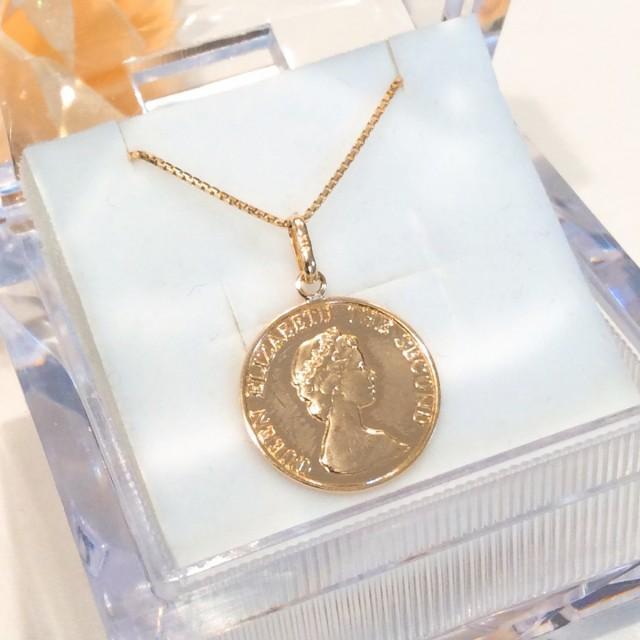 K18 14mm プレスコイン ネックレス