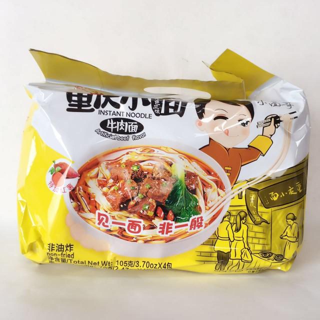 光友重慶小面(牛肉味)4食入 方便面 中華本場の味 四川風味 インスタント 440g