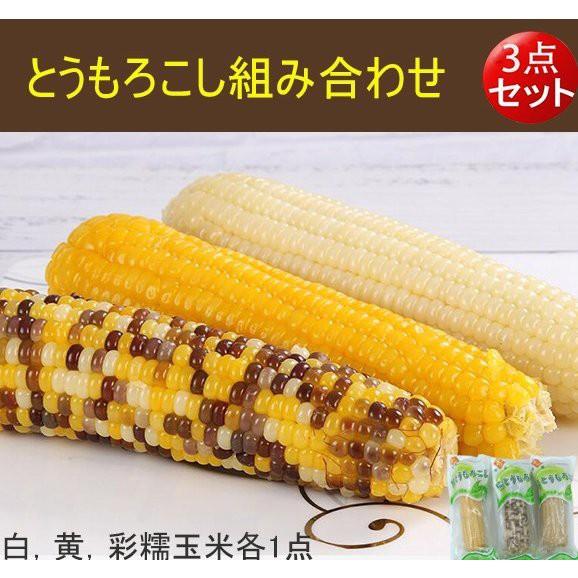 【3点セット】とうもろこし組み合わせ 白糯玉米、黄糯玉米と彩糯玉米各1本 250gx3 真空パック調理済み 温めるだけ 中国産 ご注意
