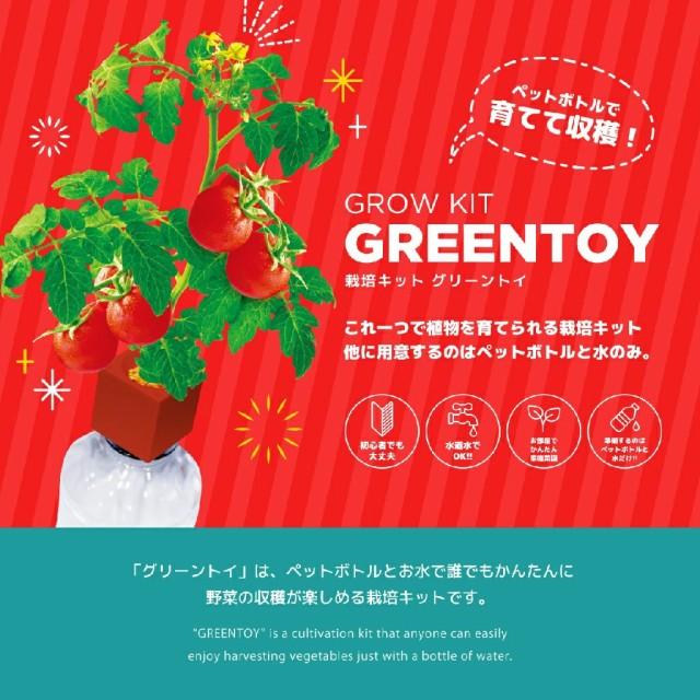 お部屋でプチトマト栽培キット グリーントイ(プチトマトのたね付き) おうち時間 ミニトマト 室内 園芸 ガーデニング