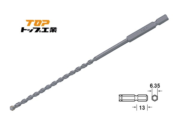 TOP/トップ工業 ECD-4.0L 電動ドリル用六角シャンクコンクリートロングドリル 4.0mm