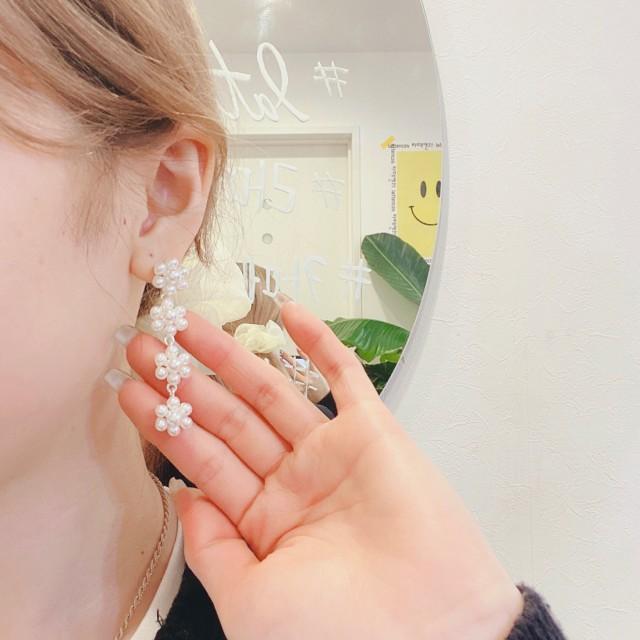 パール ドロップ ピアス 韓国 ファッション アクセサリー ジュエリー ピアス パール 上品 エレガント 高見え lattencos
