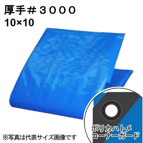 厚手ブルーシート #3000 屋外使用目安約1年 呼称10×10 実寸約9.7x9.7m