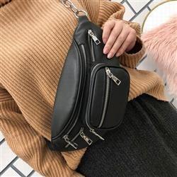 ブラック ショルダーバッグ 3way PU ウエストポーチ チェーン付 男女兼用 メンズ レディース ストリート カジュアル ベルトオルチャン