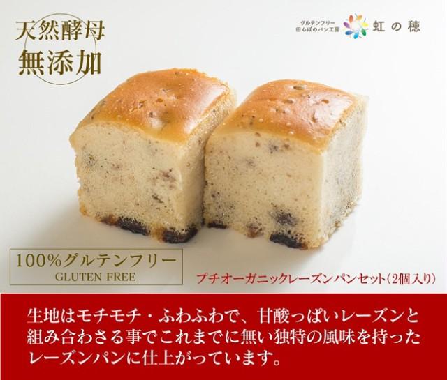 グルテンフリー パン 米粉パン プチオーガニックレーズンパンセット(2個入り)