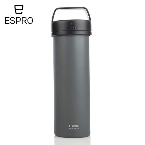 P5倍 ESPRO コーヒープレス ウルトラライト コーヒー グレー 灰色 エスプロ 473ml 軽量 おうち時間 アウトドア クラフトコーヒー キャン