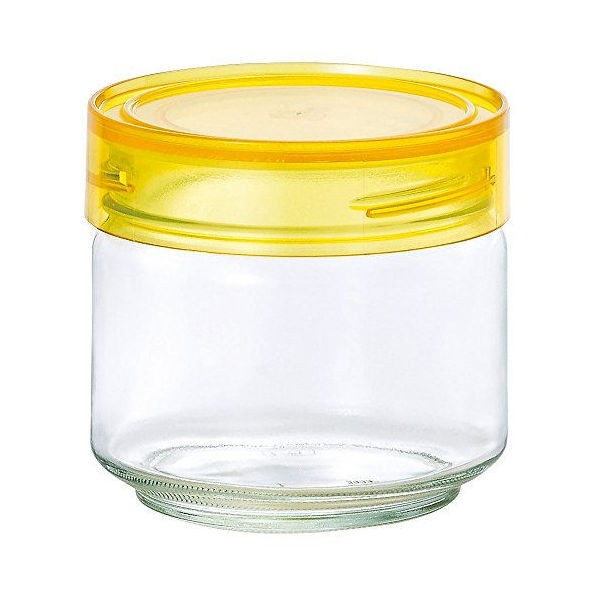 全品P5〜10倍 アデリア ガラス保存容器 クリアイエロー 500mL カラーキャップボトル 日本製 M-6624