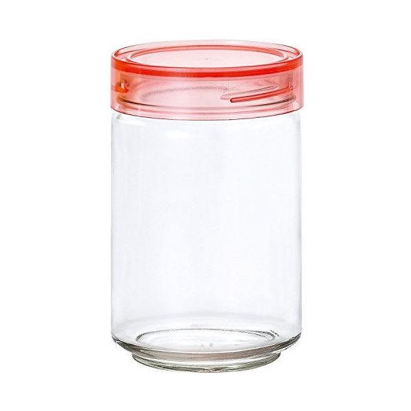 全品P5〜10倍 アデリア ガラス保存容器 クリア ピンク 1000mL カラーキャップボトル 日本製 M6633