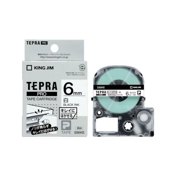 キングジム テプラPROテープ キレイ 白/黒文字 SS6KE