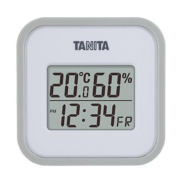 タニタ(TANITA) デジタル温湿度計 置き掛け両用タイプタイプ/マグネット付 グレー TT-558-GY