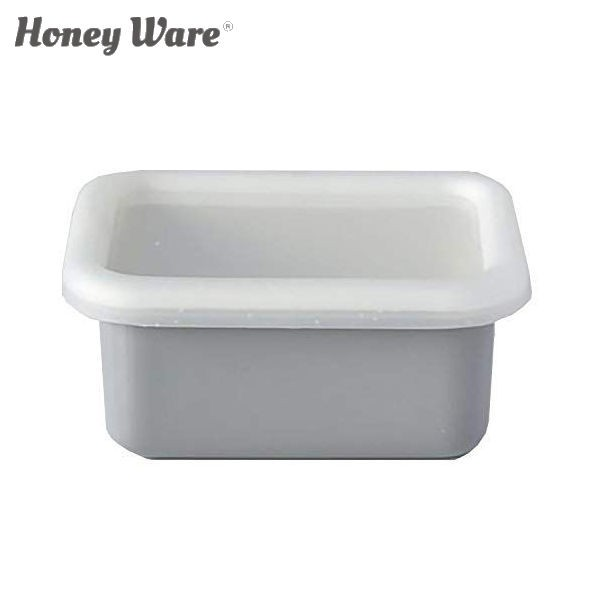 全品P5〜10倍 富士ホーロー Honey Ware Cotton 浅型角容器 レクタングル SS ライトグレー CTN-SS.LG 保存容器 ハニーウェア コットン COD