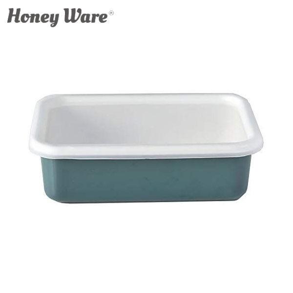 全品P5〜10倍 富士ホーロー Honey Ware Cotton 浅型角容器 レクタングル M スモークブルー CTN-M.SB 保存容器 ハニーウェア コットン COD