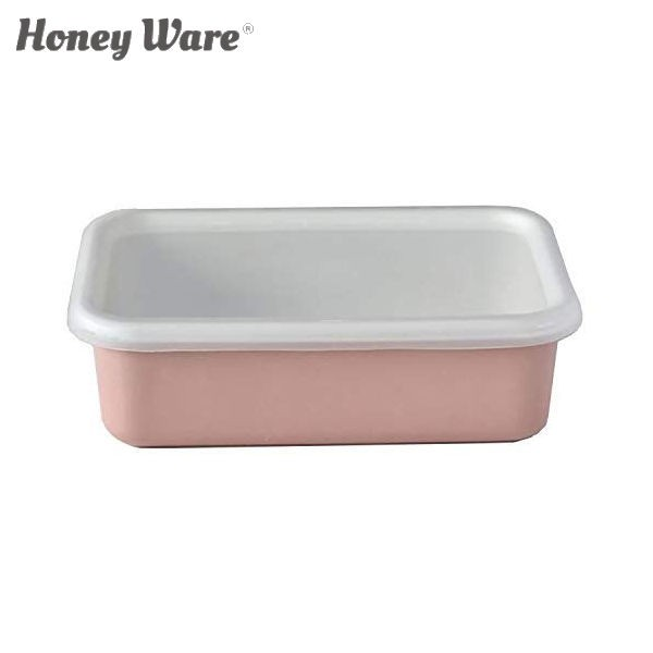 全品P5〜10倍 富士ホーロー Honey Ware Cotton 浅型角容器 レクタングル M アッシュピンク CTN-M.AP 保存容器 ハニーウェア コットン COD