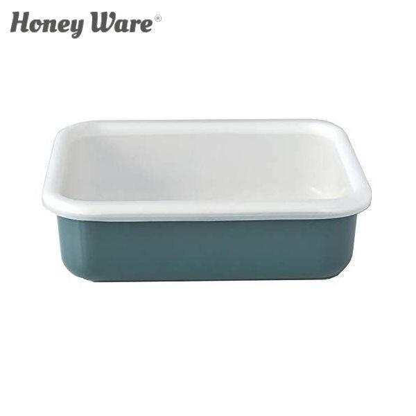 全品P5〜10倍 富士ホーロー Honey Ware Cotton 浅型角容器 レクタングル L スモークブルー CTN-L.SB 保存容器 ハニーウェア コットン COD