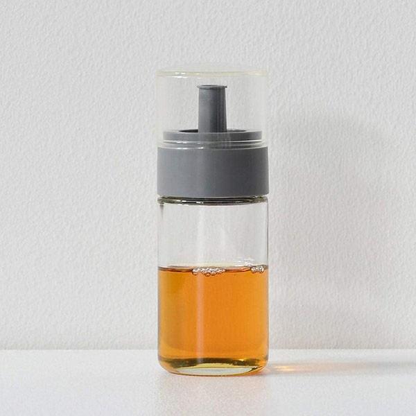 P5倍 液だれしにくい ガラスボトル オイル ビネガー グレー 川崎合成樹脂