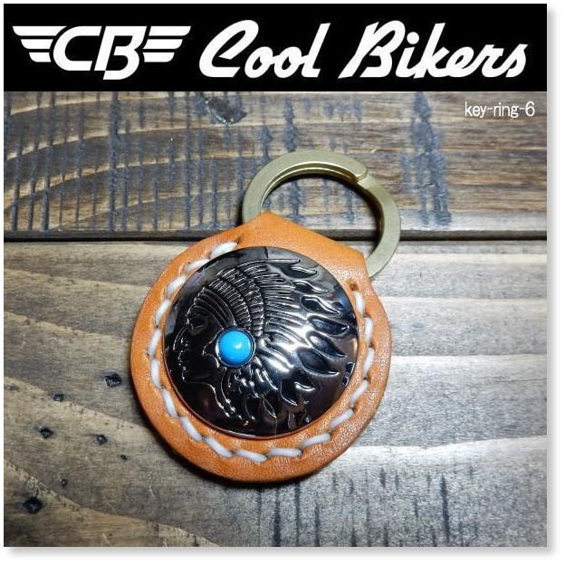 真鍮 キーリング 手縫い 栃木レザー COOLBIKERS クールバイカーズ インディアンコンチョ KEYRING-6