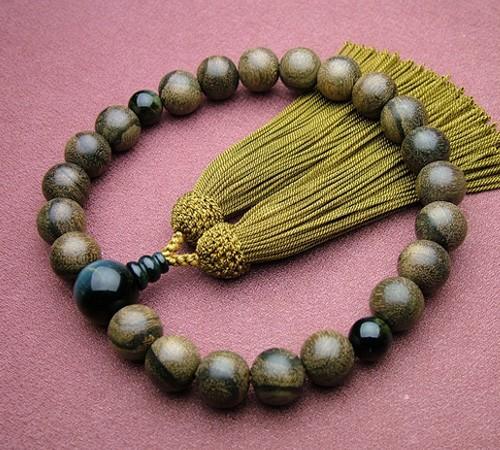 シャム柿22珠 青虎目石仕立 しぶ金茶色房(正絹頭付) 高級念珠 数珠 男性