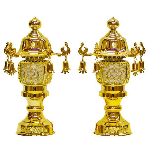 小型灯 盆提灯 ちょうちん 8号鈴付(ゴールド) 1対