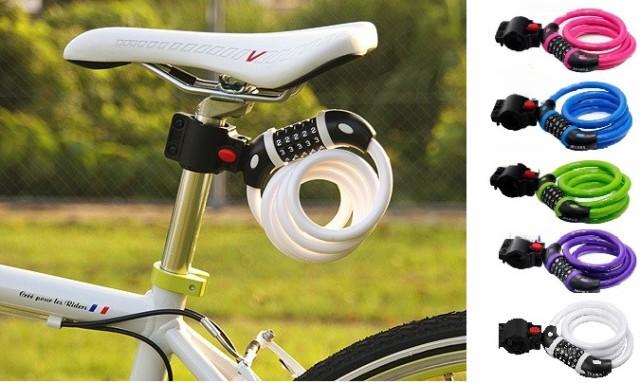 カラフル ダイヤル式 サイクルロック 自転車鍵 ダイヤルロック サドルブラケット付 送料無料 5桁