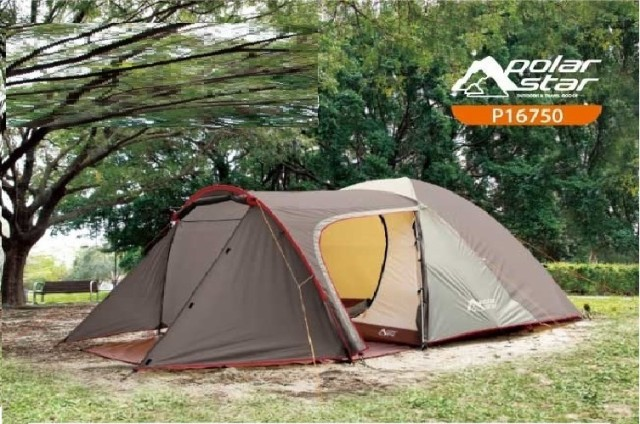 POLAR STAR 2ルームテントLサイズ ファミリーテント キャンプテント 4人〜5人就寝 1ルーム就寝×1リビング インナーシート付