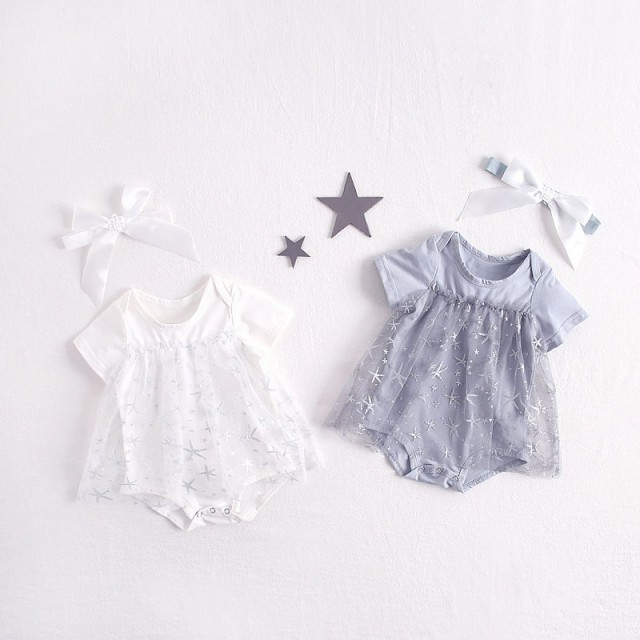 ベビー服 ロンパース 新生児 女の子 夏服 半袖 可愛い 赤ちゃん 新作 格安 カバーオール チュールワンピース 66cm 73cm 80cm 90cm 涼しい