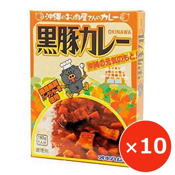 ご当地レトルトカレー セット 黒豚カレー オキハム 180g×10個 沖縄土産 沖縄限定 ポークカレー