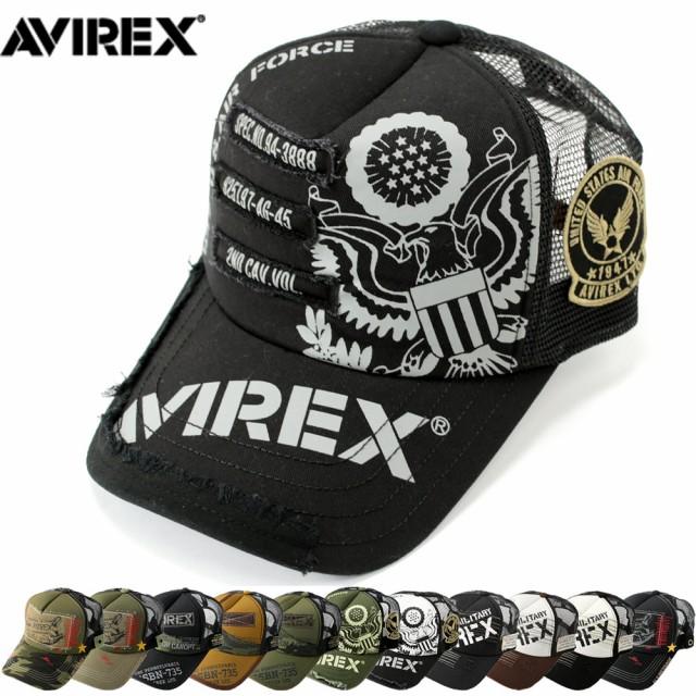 AVIREX アヴィレックス 2020年新作 刺繍 パッチ メッシュキャップ 帽子 メンズ レディース ミリタリー キャップ 夏 ベースボールキャップ