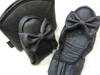 携帯スリッパ Leather Ribbon レザーリボン バレエ 浅履き タイプ ソフトブラック M〜LLサイズ