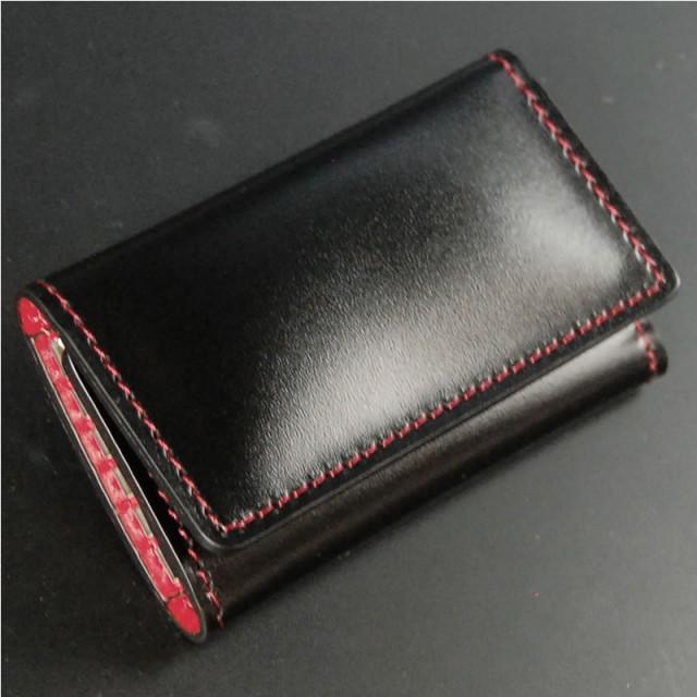 キーケース本革 メンズ 日本製 5連 黒革に赤ステッチ 内装赤色 大きめ 大型 紳士用 男性用 職人鞄 キーケース キーホルダー キーリング