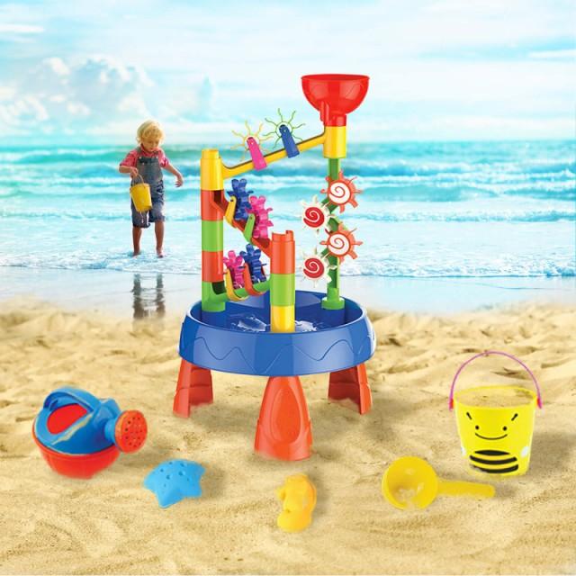 VeroMan 水遊び 水遊び台 砂遊び台 ウォーターテーブル サンドテーブル テーブル 脚付き お風呂おもちゃ シャワーおもちゃ 夏 水車 砂遊
