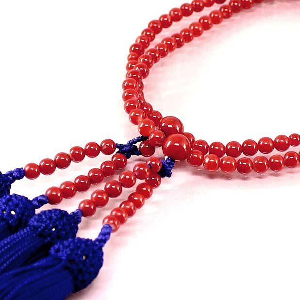 血赤珊瑚 本連 数珠 女性用 数珠袋付 桐箱入 (のし等ギフト対応無料) 4.8mm玉 長さ51.5cm 房は正絹 無染色さんご サンゴ念珠は嫁入道具に