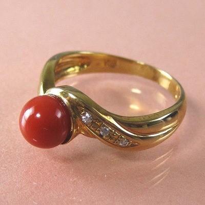 血赤珊瑚 指輪 (のし等ギフト対応無料) ぷちダイヤモンド付 18金 リング 6.3mm 無染色さんご 11号(8-14号は無料サイズ直し) サンゴ k18
