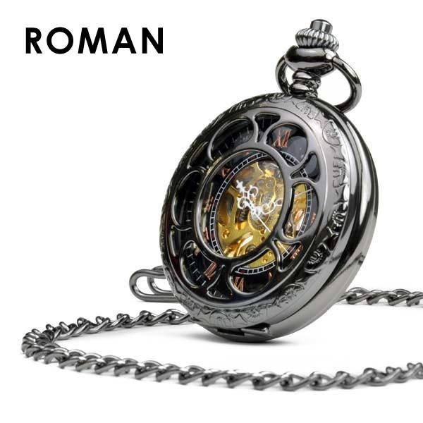 送料無料 懐中時計 ローマン 機械式時計 手巻き ポケットウォッチ メンズ 時計 スケルトン アンティーク ネックレス おしゃれ