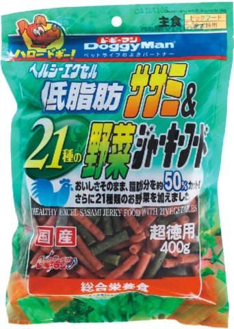 ヘルシーエクセル低脂肪ササミ&21種の野菜ジャーキーフード 400g