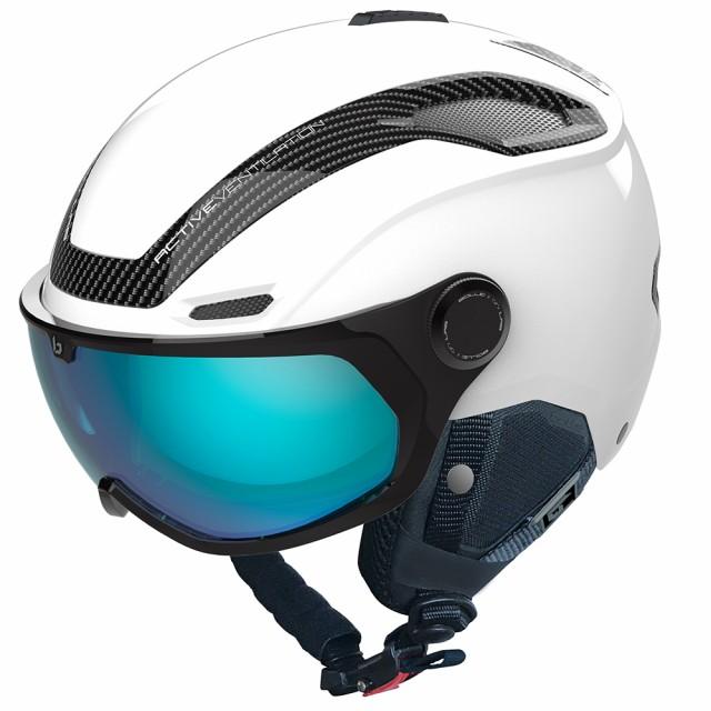 送料無料 bolle (ボレー) ヘルメット V-LINE CARBON 20-21 マットホワイト/ファントムブルーバイザー ブイラインカーボン ボレー bolle 3