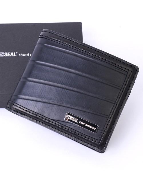 二つ折り財布 メンズ SEAL シール 財布 本革 二つ折り財布 防水 廃タイヤ タイヤチューブ 人気 日本製 黒 プレゼント